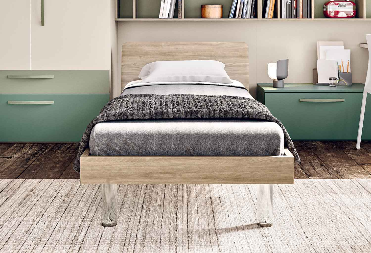 Tonga contemporary single bed frame with a sleek curved headboard in elm wood effect and clear acrylic legs