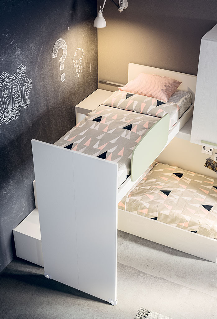 Sliding bunk top bed