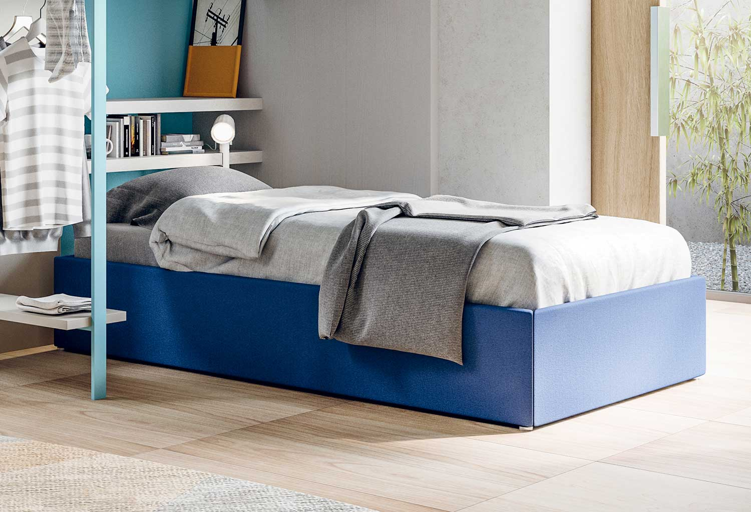 Upholstered single divan bed with storage Smart