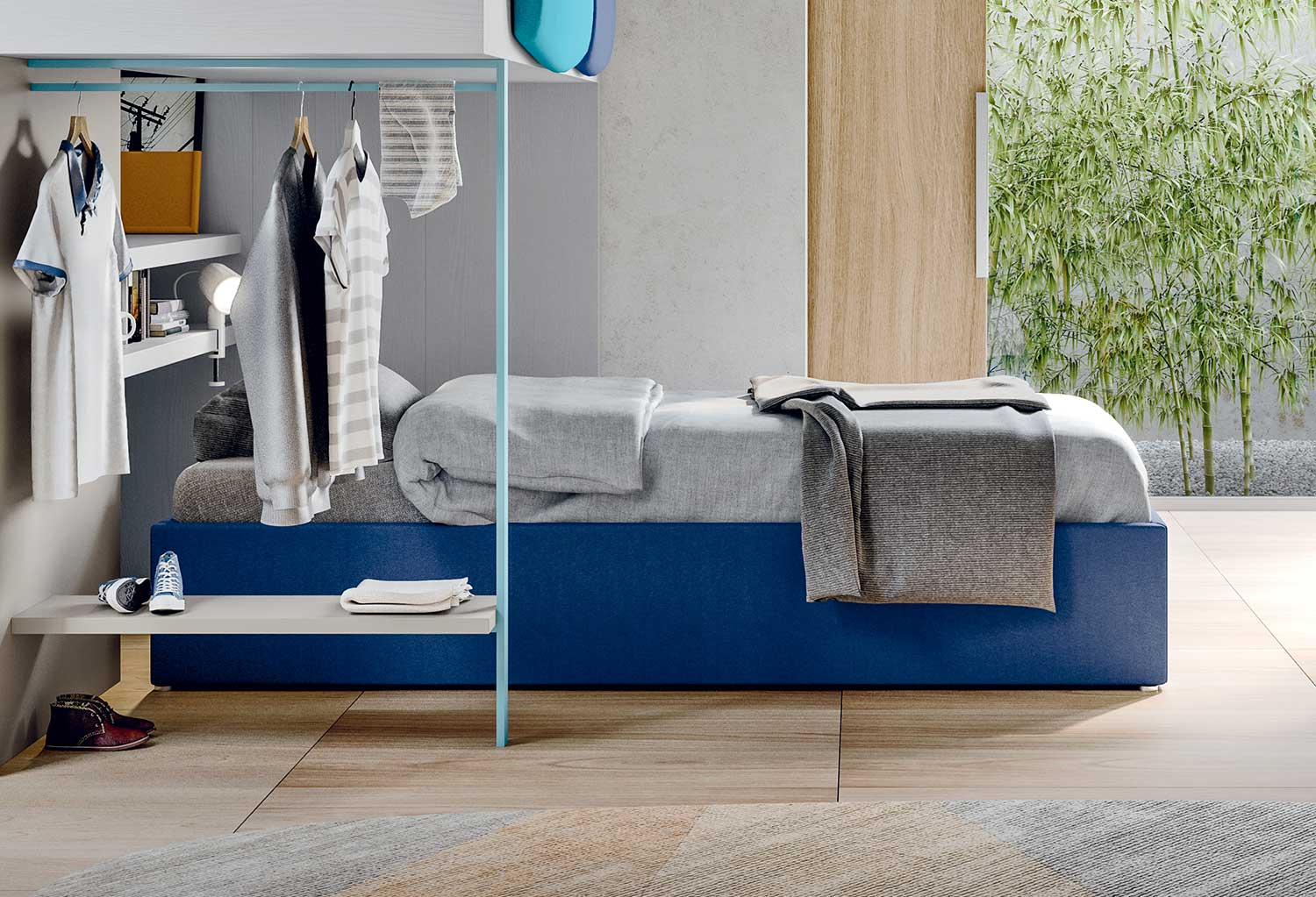 Space saving compact divan bed Smart is ideal as a low sleeper to complete a loft bed