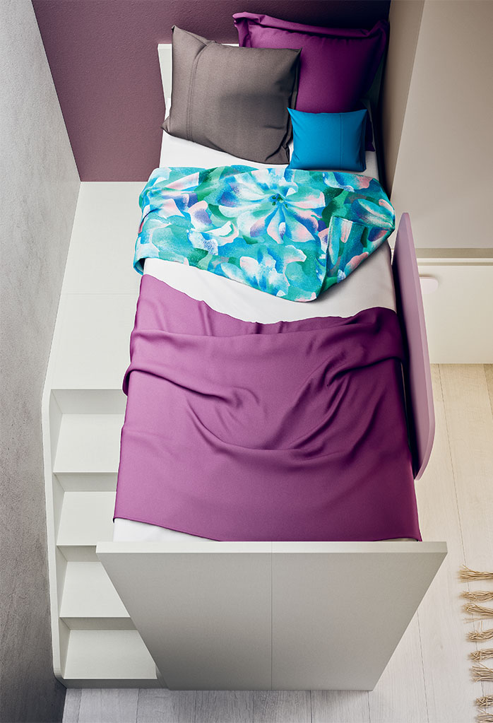 Castelponte loft-bunk bed with staircase and walkway