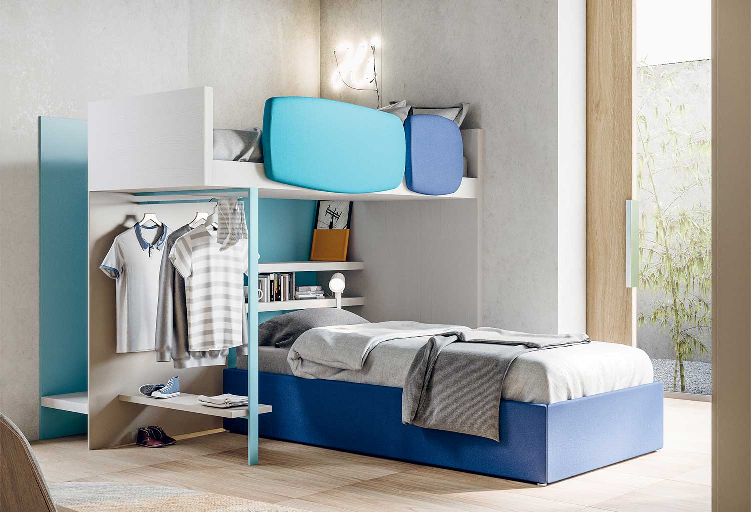 Sky bunk bed with stairs and built in clothes rack