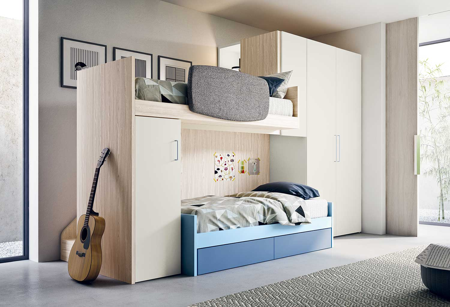 High sleeper bed with wardrobe cm 255 p.89 h.241,2