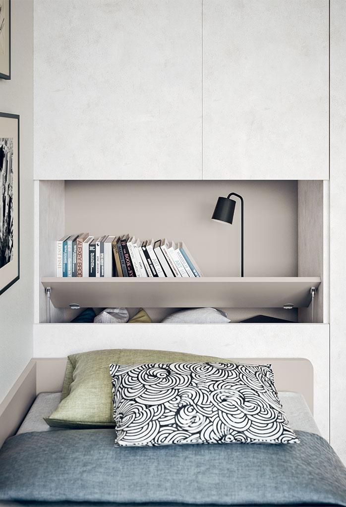 Cameretta con divano letto singolo e letto estraibile start t02 clever it - Divano letto singolo con contenitore ...
