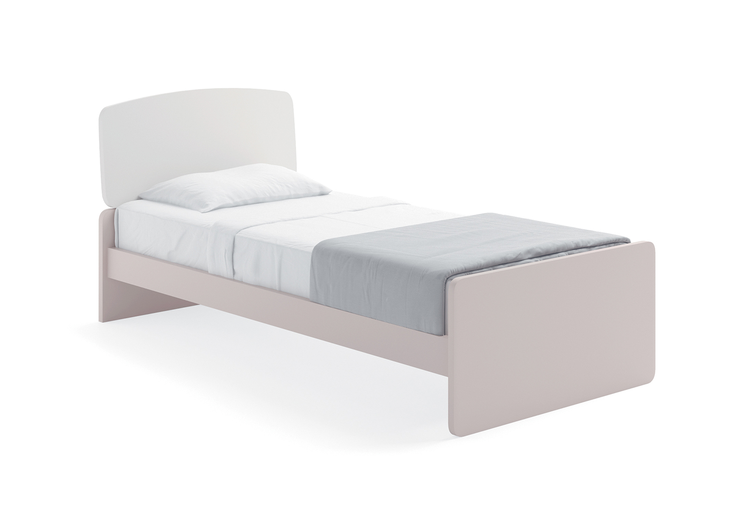 Elice low single bed frame with bicolour headboard