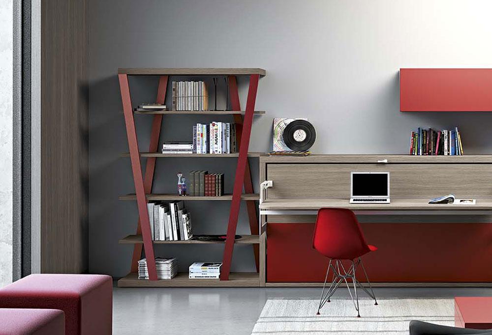 Libreria Hon in laccato rosso con ripiani in contrasto