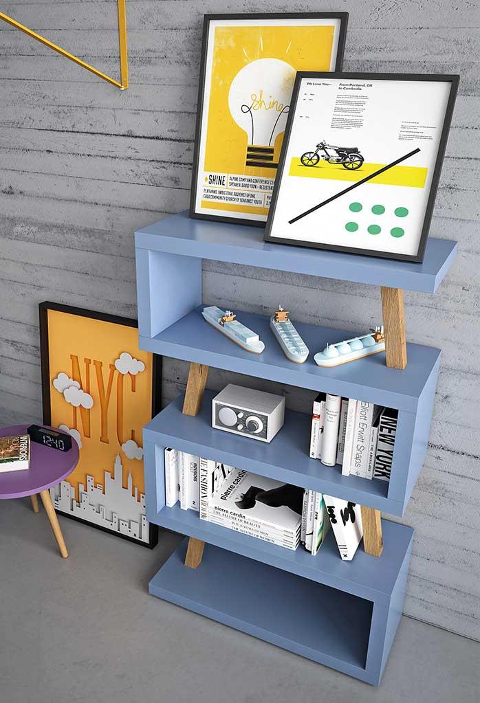 Libreria free-standing cm 90 o 120, con 5 ripiani