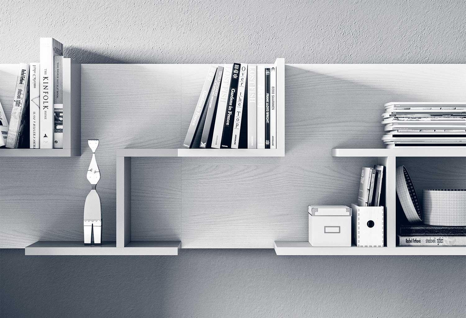 Cross modular shelves can be combined to create a wall bookcase