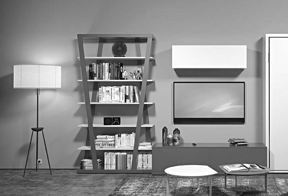 La mdoerna libreria a parete Hon può essere posizionata in soggiorno