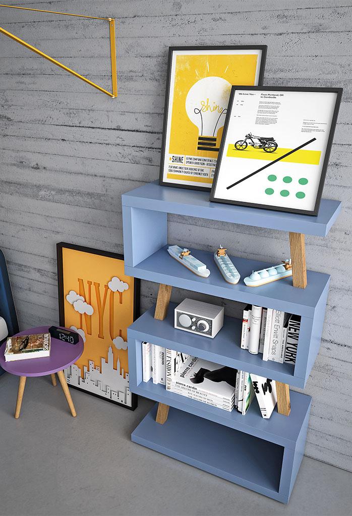 Libreria originale e colorata per cameretta Snake