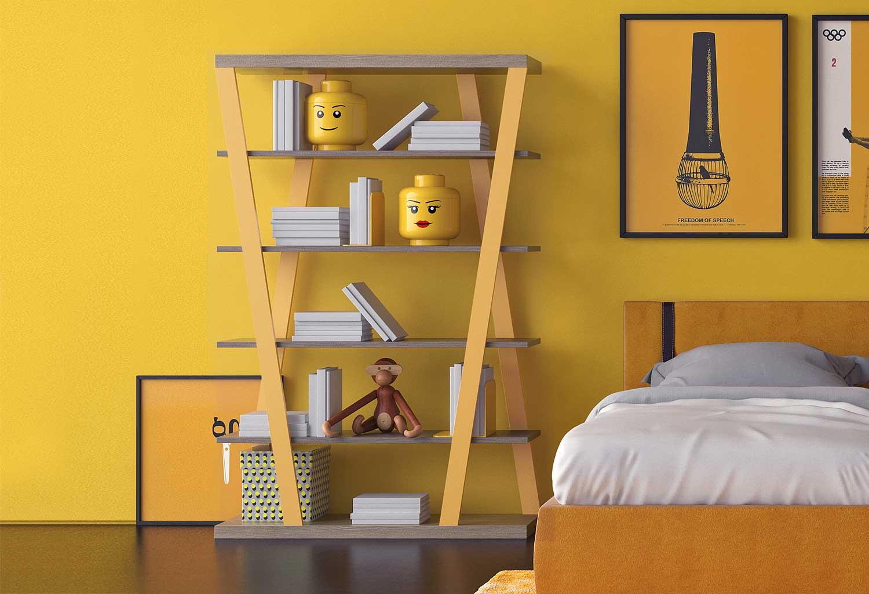 Libreria moderna e colorata per la cameretta di bambini e ragazzi