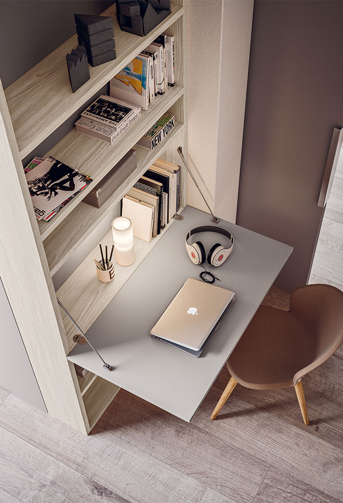 The wardrobe features an end bookcase with desk built in