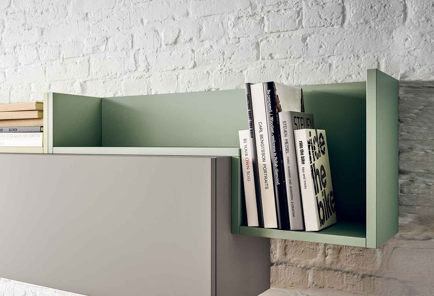 Fedra l-shaped shelf in pastel colour