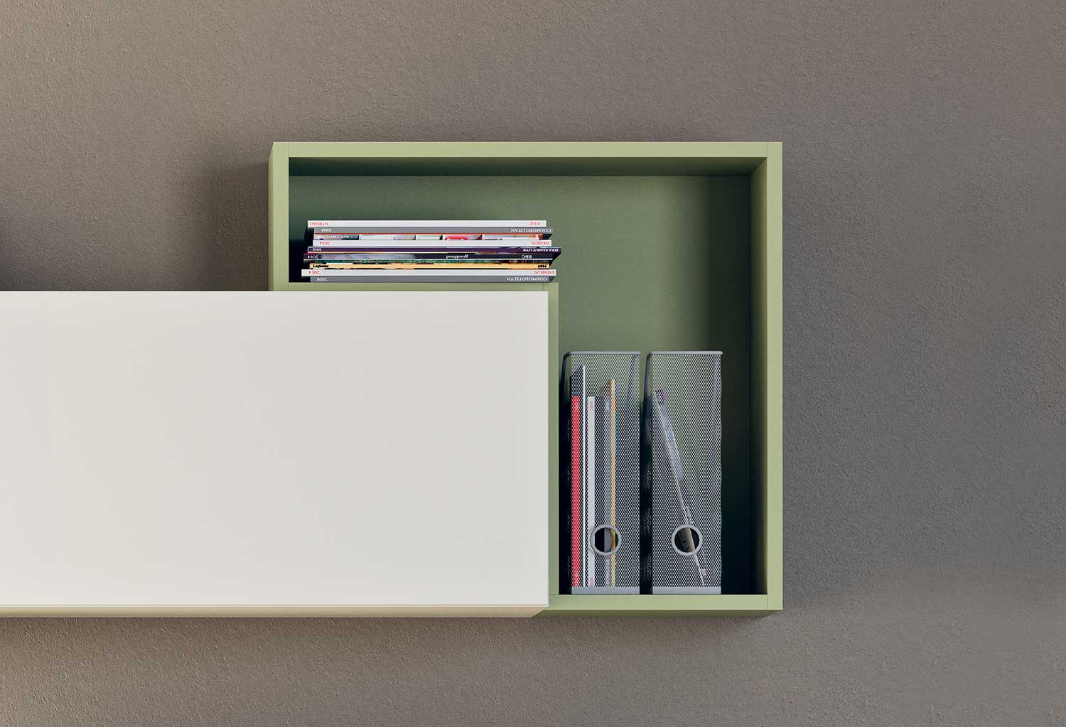 Small floating shelf for folders, books, volumes