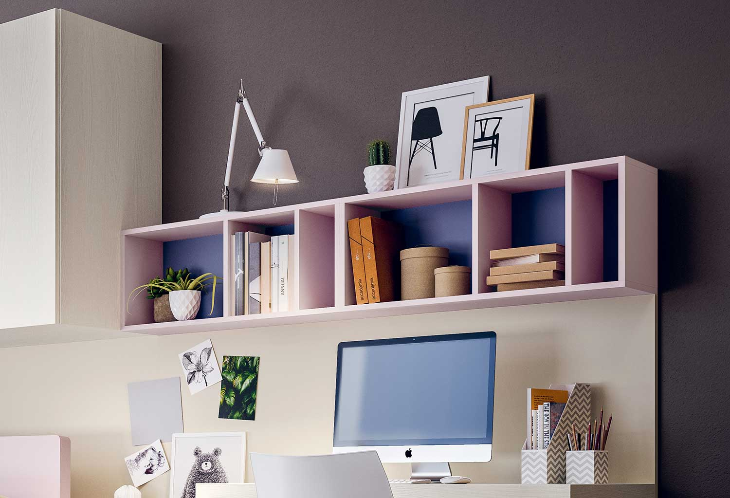 Books shelf Gate combined with desk and wall panel
