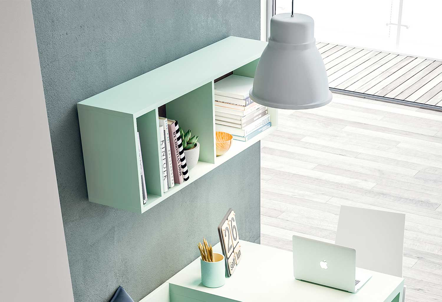 The shelf can be customized in many colours, matching those of all Clever furniture