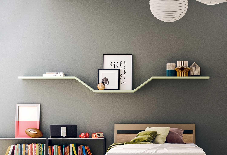 Asymmetric floating wall shelf Star