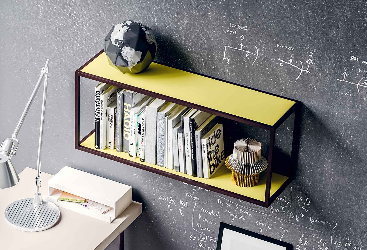 Metal frame shelving with lacquered shelves