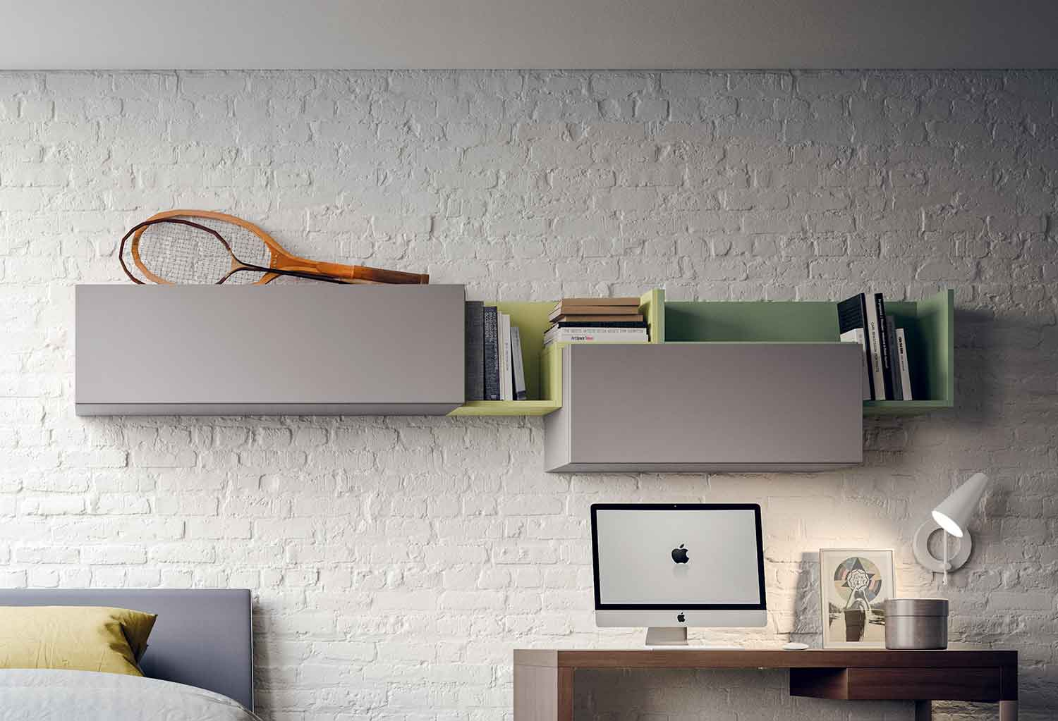 Two Fedra l-shaped shelves combined with Box storage units