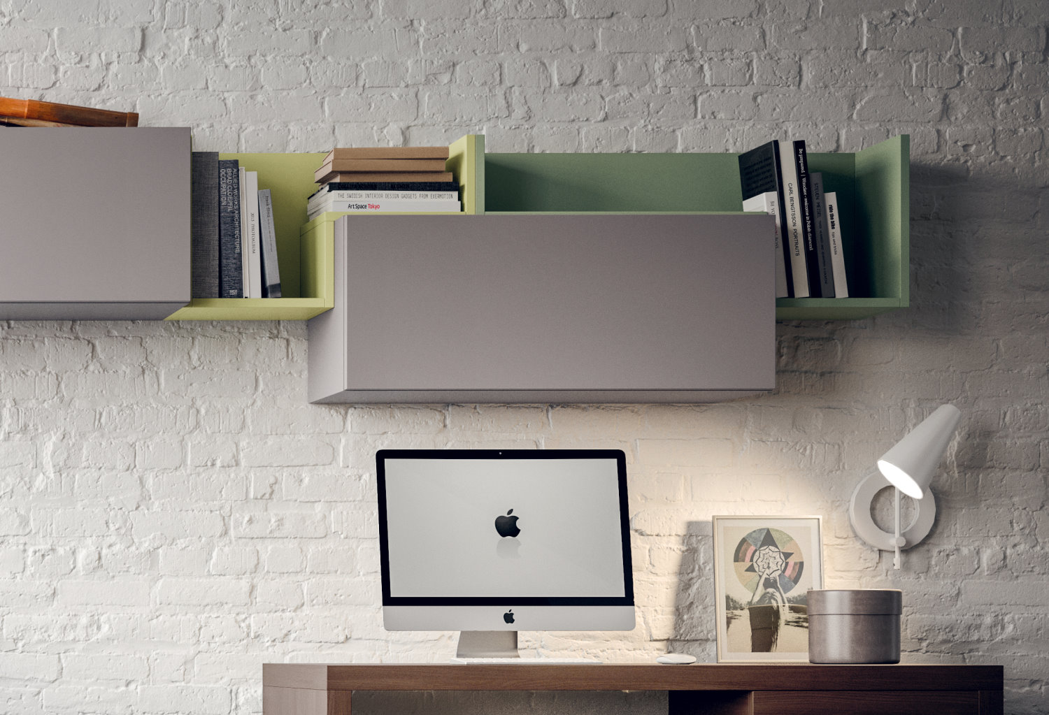 Two Fedra l-shaped shelves in different colours