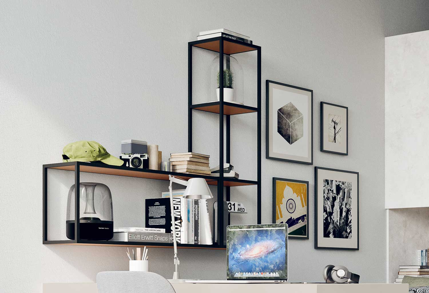 Combination of horizontal and vertical metal shelves