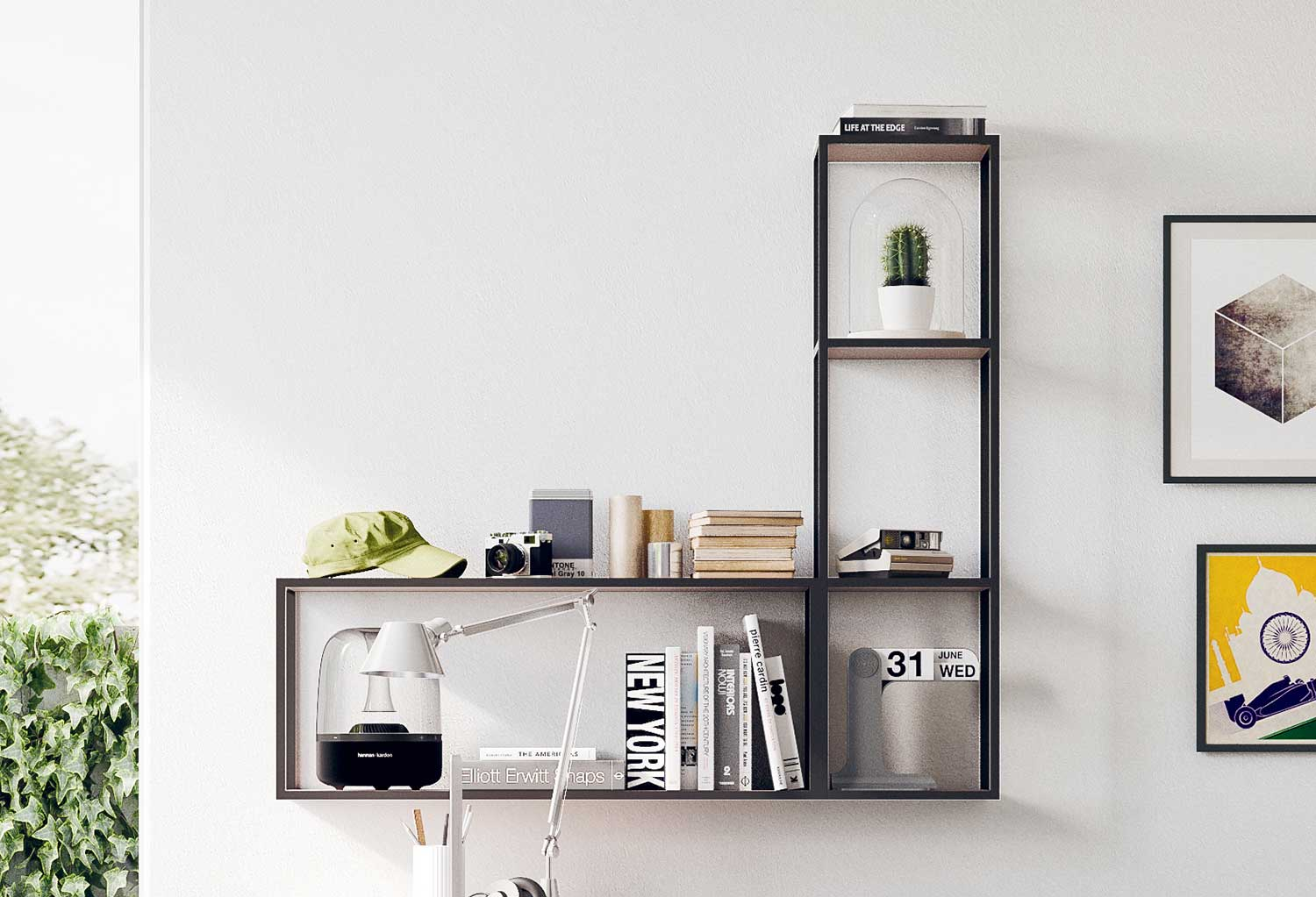 Kios is an industrial style metal frame shelving with a tough look perfect for teenagers' bedrooms