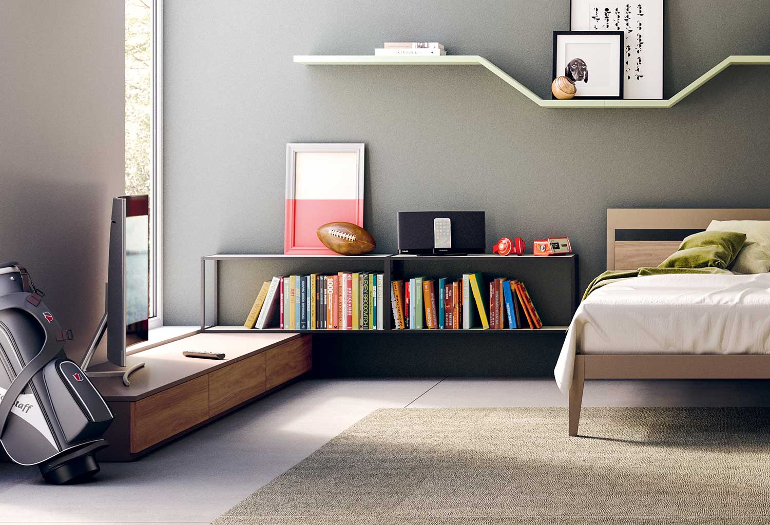 You can position the shelves anywhere, here used as bedside storage