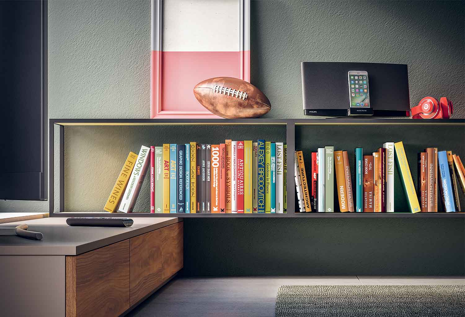 Metal frame shelving can be used as book holders