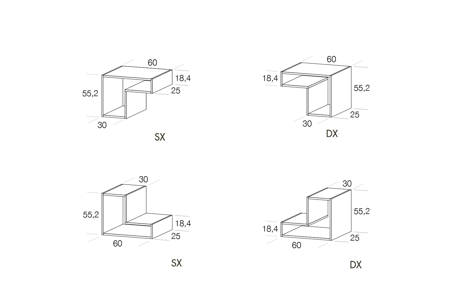 Shelves dimensions