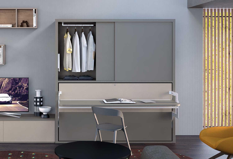 Mobile letto singolo con armadio scorrevole e scrivania integrata sul frontale