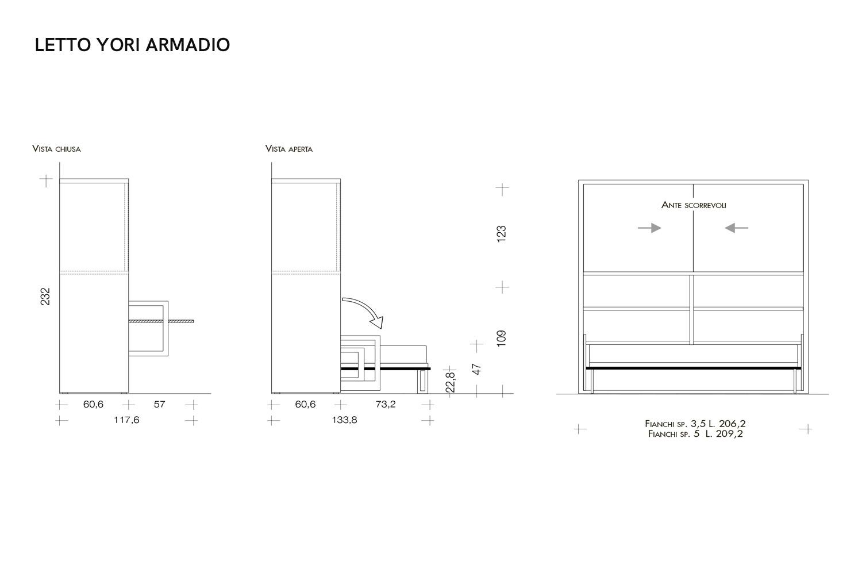 Mobile letto singolo con armadio yori armadio clever it for Dimensioni letto singolo