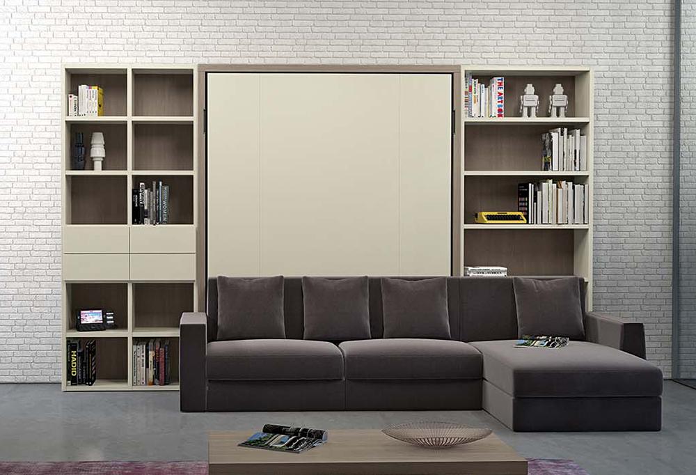 Mobile soggiorno con letto matrimoniale a scomparsa, divano con penisola, libreria