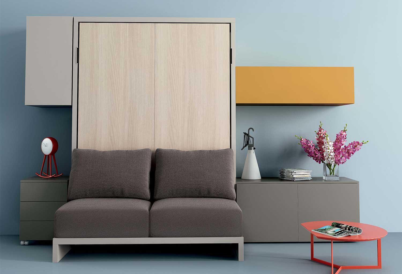 Mobile trasformabile in letto con divano due posti integrato