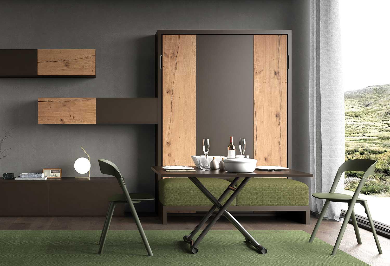 Zona giorno attrezzata completa di mobile con letto a scomparsa, divanetto integrato, tavolo da pranzo