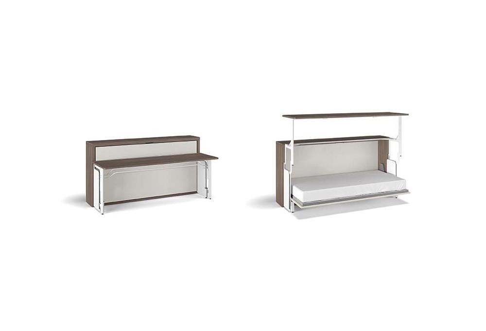 Sistema di apertura del letto a scomparsa con scrivania integrata