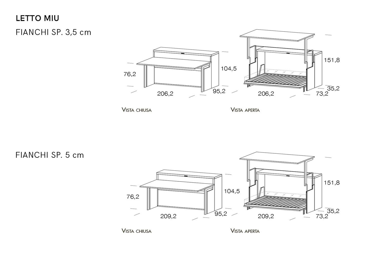 Schema dimensioni mobile con letto a scomparsa e scrittoio