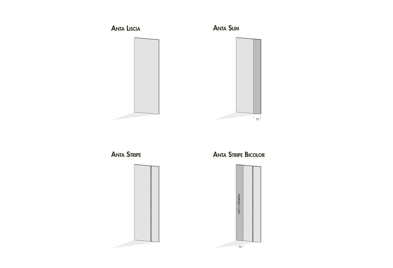 Modelli ante disponibili per armadio Corner