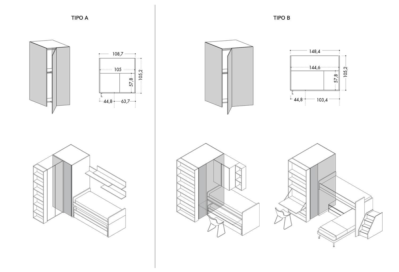 Modelli e dimensioni disponibili