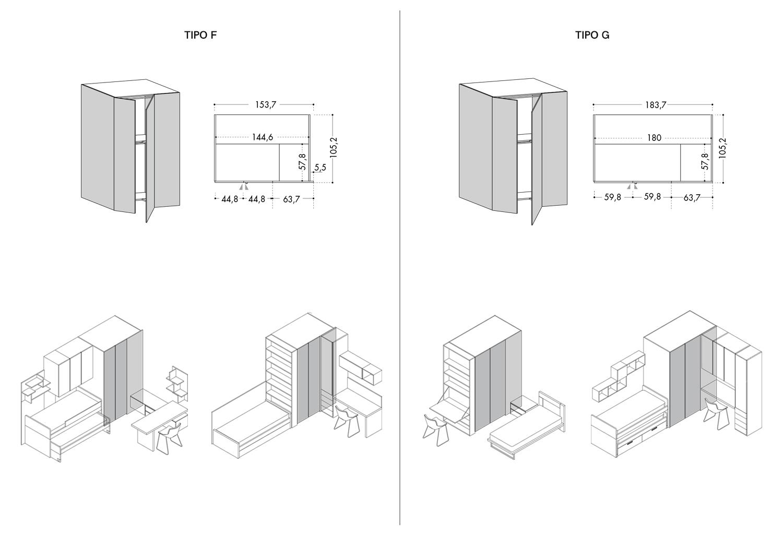 Cabina armadio lineare Lite - CLEVER.IT