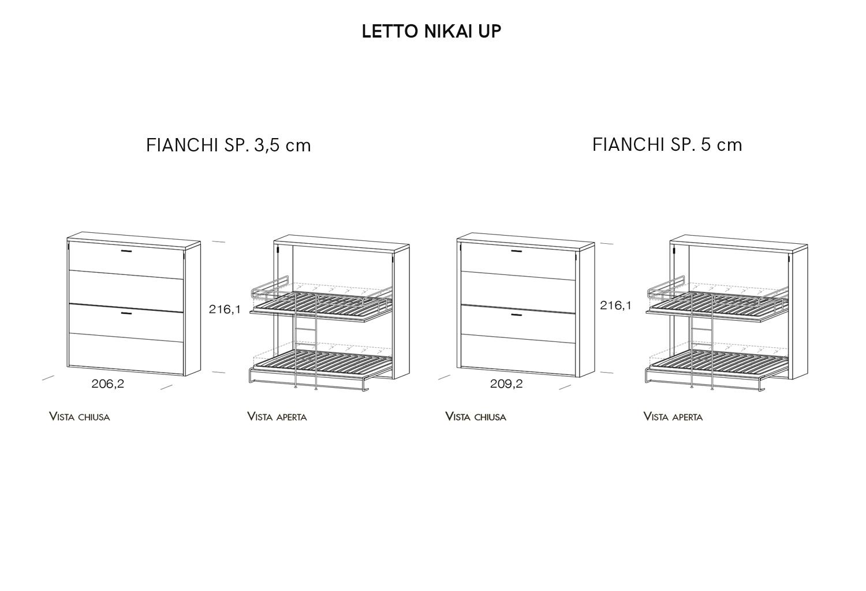 Modelli e dimensioni letto a castello trasformabile Nikai Up
