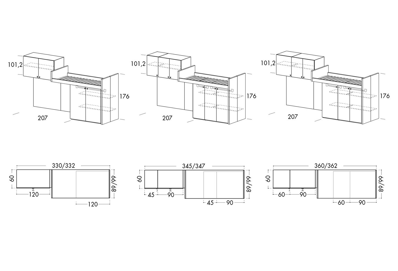 Modelli e dimensioni disponibili letto a soppalco lineare