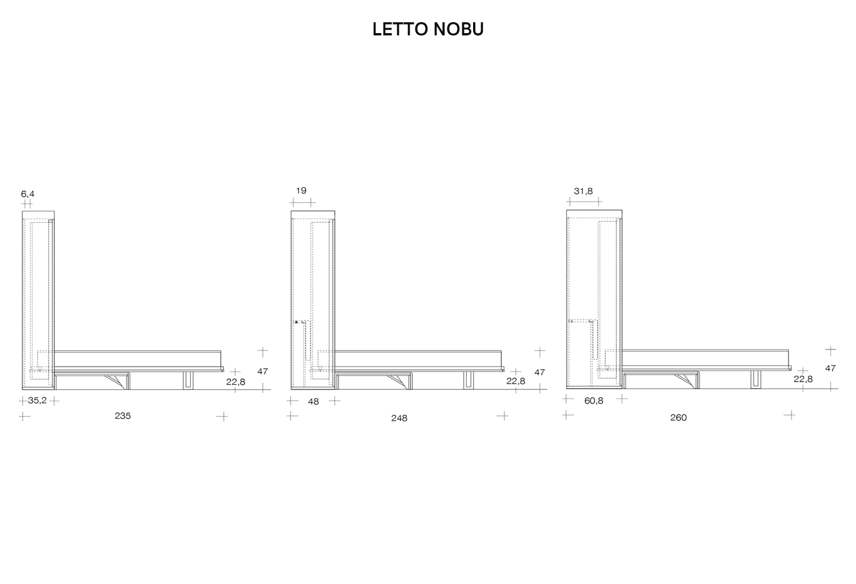 Schema dimensioni letto a scomparsa Nobu di Clever