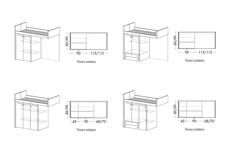 Schema letto a castello a sbalzo con elementi sottoletto a scelta tra quattro varianti