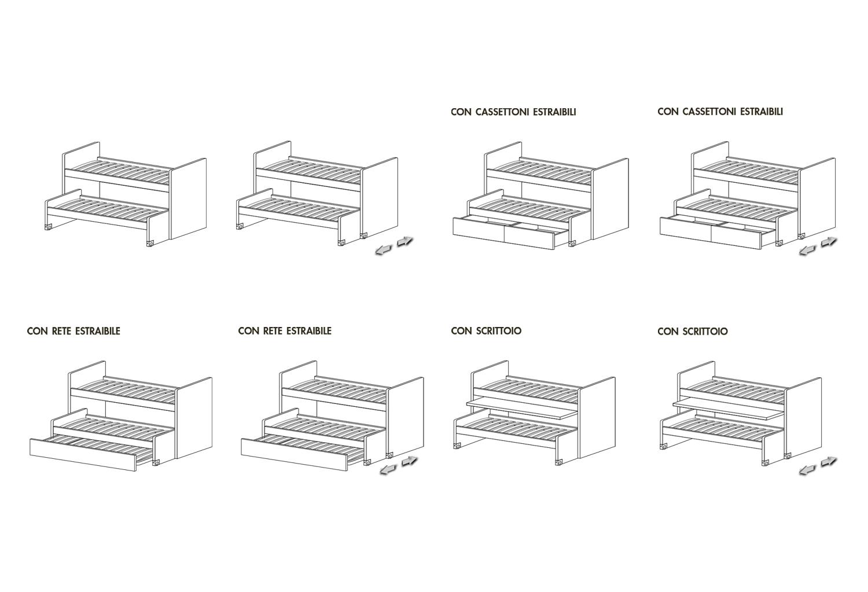 Schemi modelli letto Lobby Alto con due letti