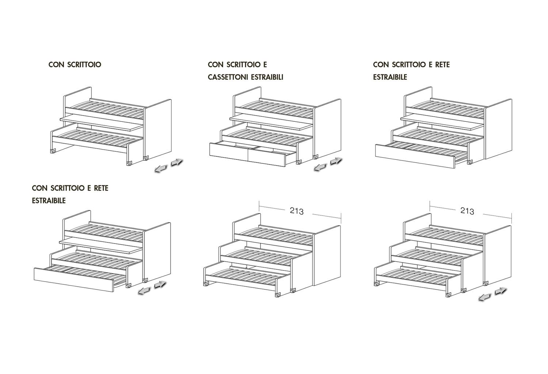 Schemi modelli letto Lobby Alto con due letti e scrittoio e con tre letti