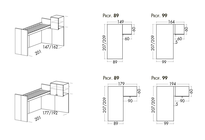 Modelli e dimensioni letto a soppalco angolare