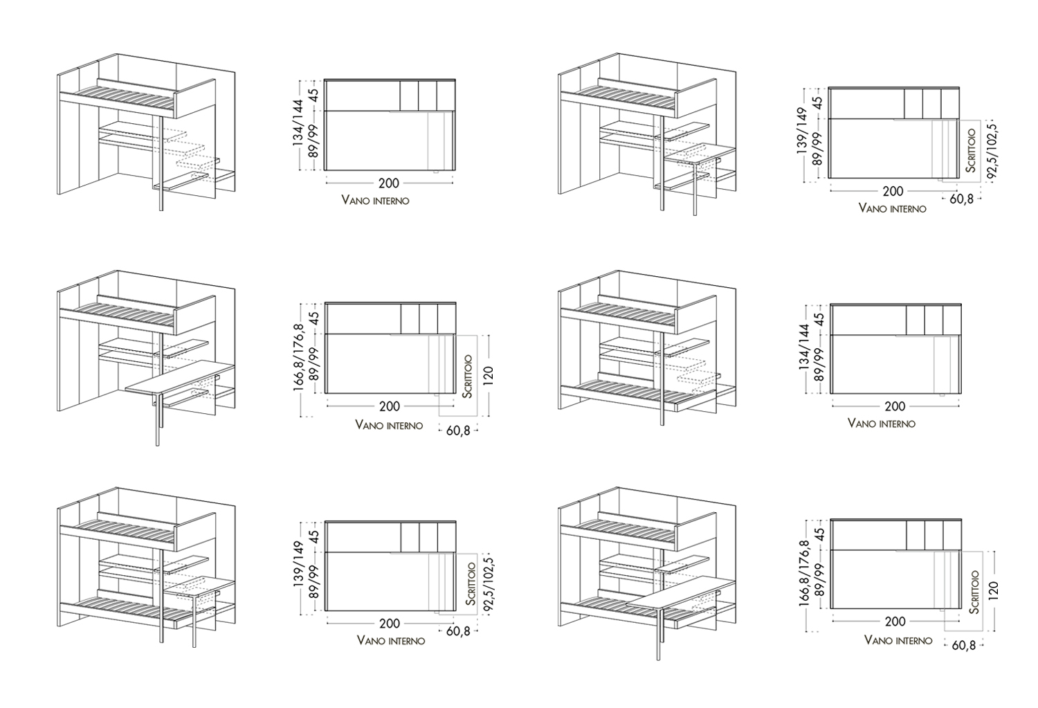 Bunk bed with stairs: models