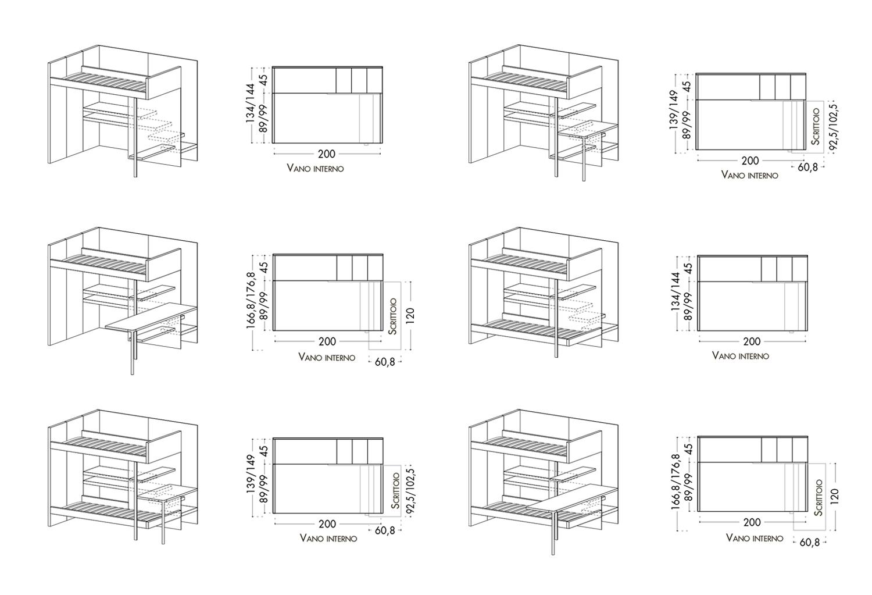 Modelli letto a castello con un fianco chiuso e uno aperto