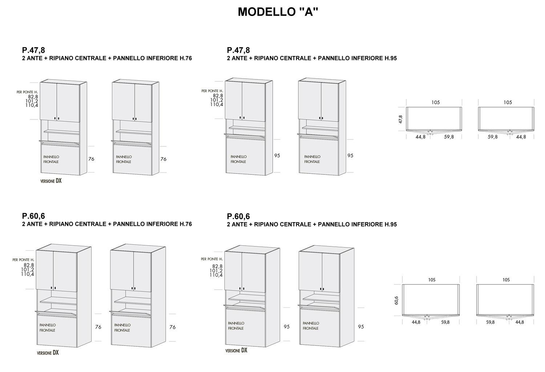 Colonna Duplo modello A con p.47,8 cm e 60,6 cm e pannello inferiore altezza 76 cm e 95 cm