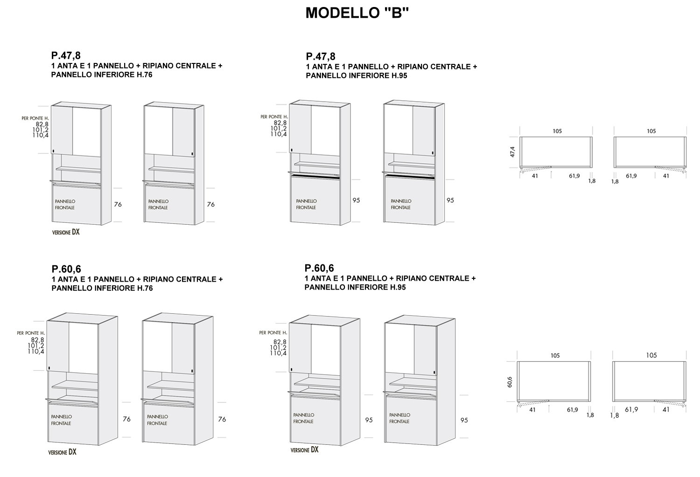 Colonna Duplo modello B con p.47,8 cm e 60,6 cm e pannello inferiore altezza 76 cm e 95 cm